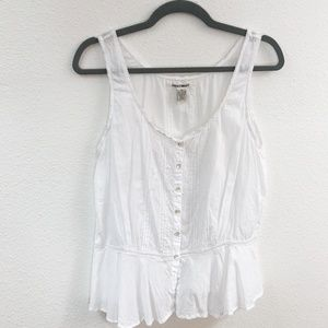 Lucky Brand Med White Button Down Tank 0568